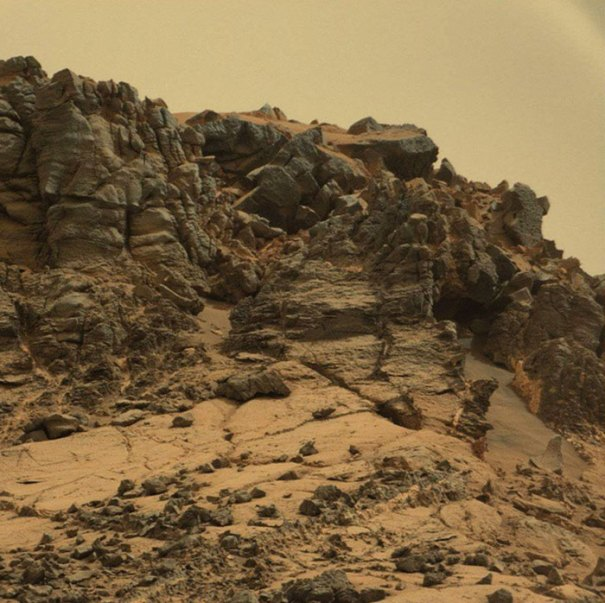 Having Reached The Base Of Mount Sharp, Curiosity Captured This Image Of Its Rocky Surroundings