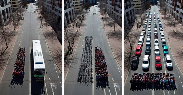 The Canberra Transport Photo Was Taken To Illustrate The Road Space Required To Move 69 People Using Public Transport, Bicyles And Private Motor Vehicles