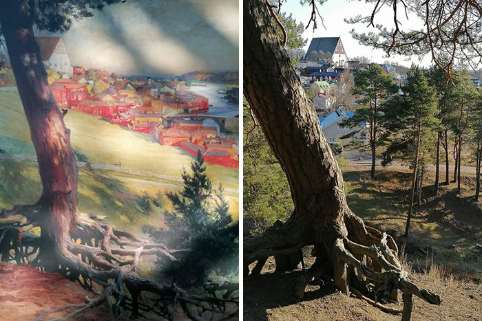 Left: A Painting From 1892, Right: The Same Spot In 2020