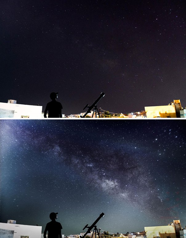 1 Exposure vs. 120 Exposures Stacked Together