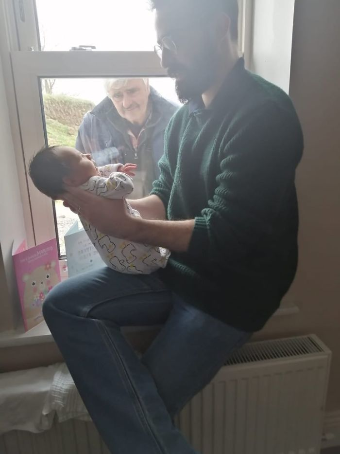 Three Generations Of Social Distancing As My Dad Meets His Grandson For The First Time