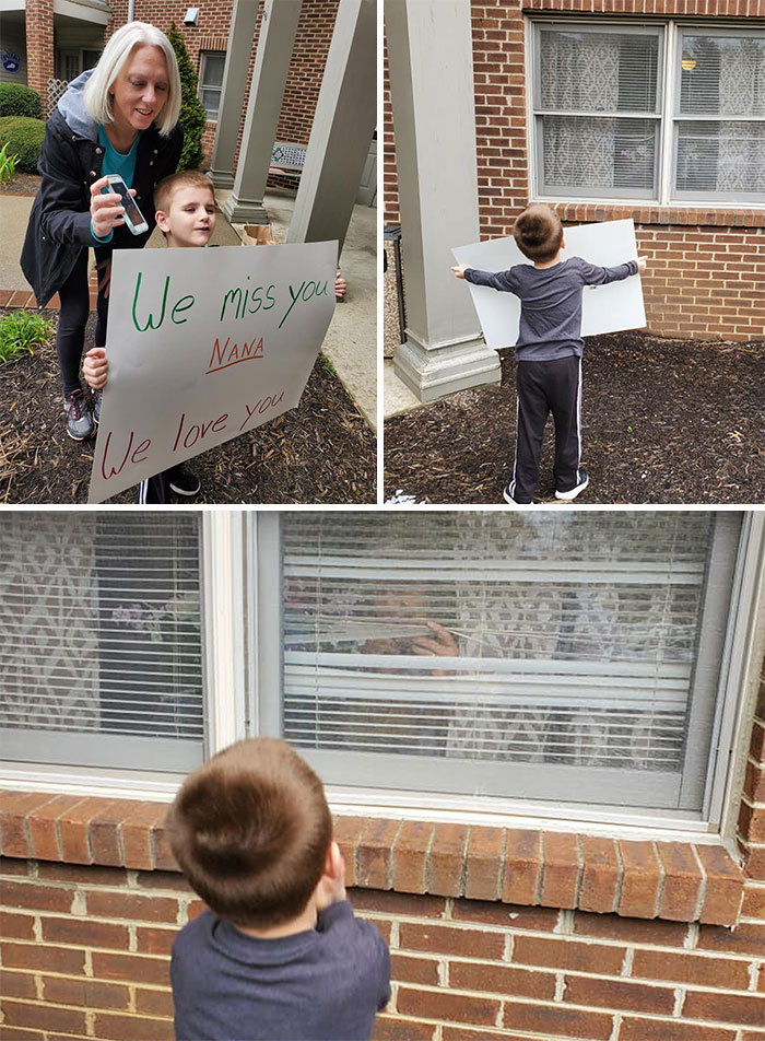 Ok, Cue All The Tears... Colt Went To See Nana Today At The Nursing Home. They Won't Allow Any Visitors So We Called Her On The Phone And Stood Outside Her Window