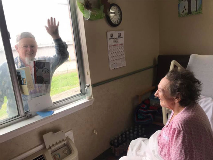 Covid-19 Can't Keep True Love Apart... One Of Our Sweet Couples That Have Been Married For 54 Years, Visiting Through Her Room Window! So Precious!