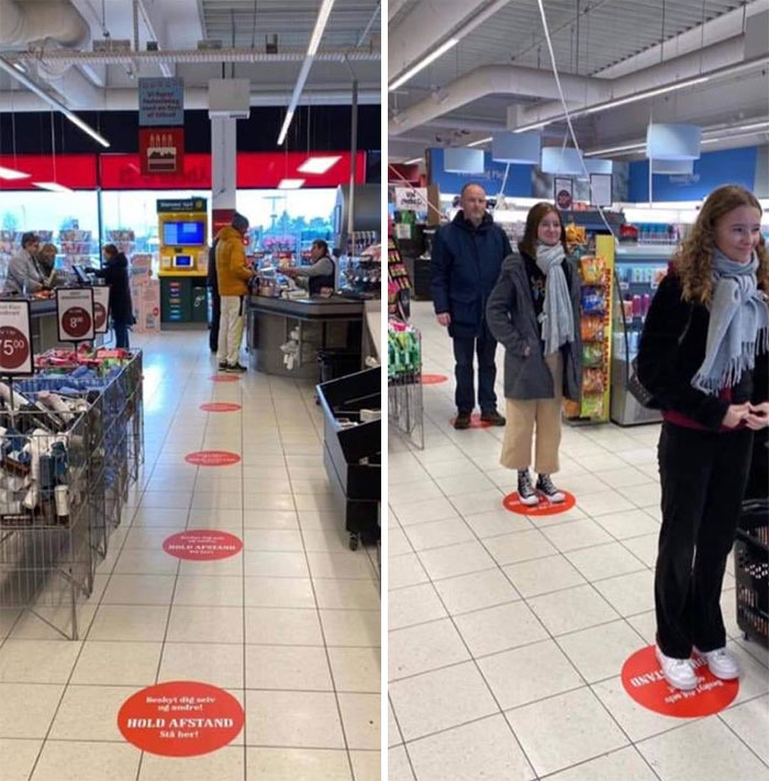 Distancing Solution In A Danish Supermarket
