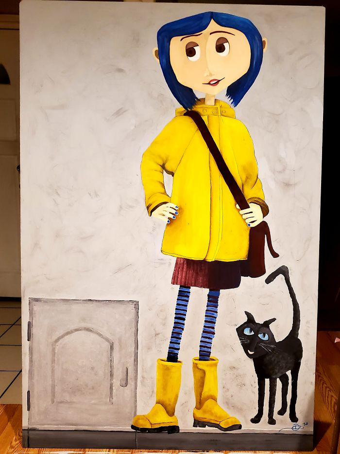 I Finished Painting Coraline For My Halloween Display. She's 6ft By 4ft