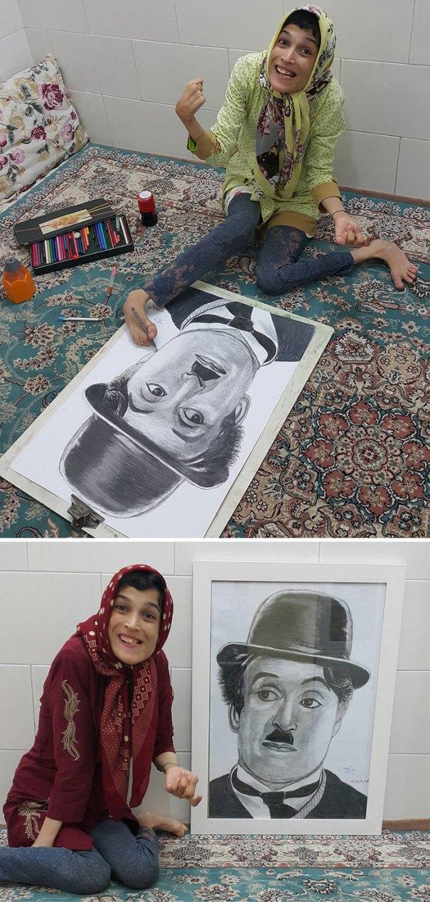 Disabled Iranian Artist Draws With Feet Fatemeh Hammami Nasrabadi 4 5ea7f63078c8a  700 - Você não vai acreditar! Artista desafia a deficiência desenhando com o pé