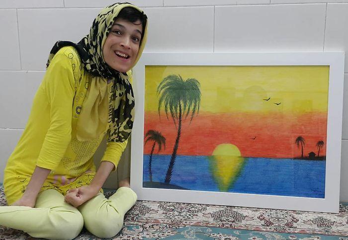 Iranian artist is thrilling the world by painting portraits with his feet 5ea6fb8627959  700 - Você não vai acreditar! Artista desafia a deficiência desenhando com o pé