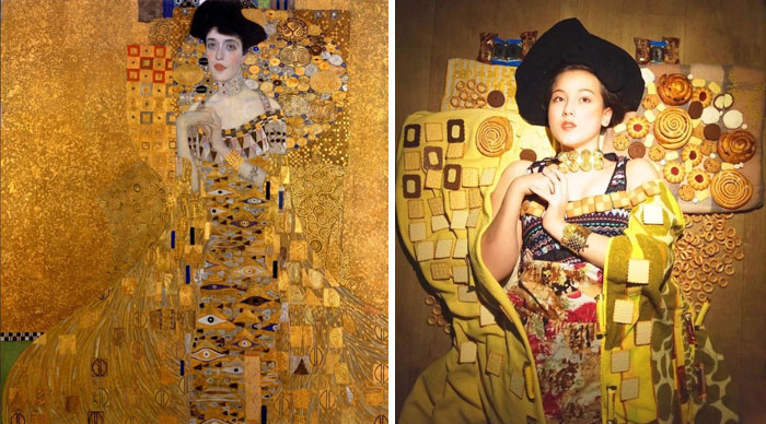 'Woman In Biscuits' Recreation From Gustav Klimt's 'Woman In Gold' By Julia Timoshkova