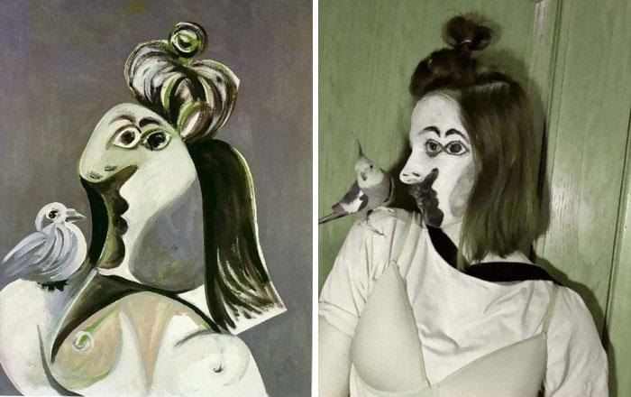 Mujer con pájaro, de Picasso