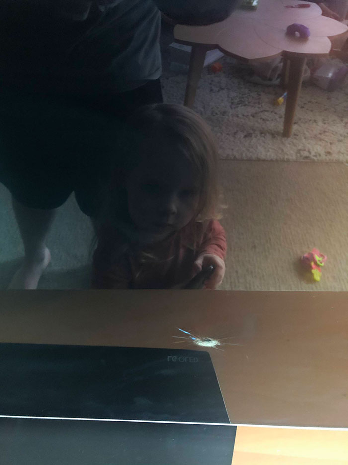 """3-Year-Old Threw A Toy Through The TV Screen This Morning. Now She Keeps Trying To Turn It On Saying """"It's Broken"""". Yeah, No S**t Professor"""