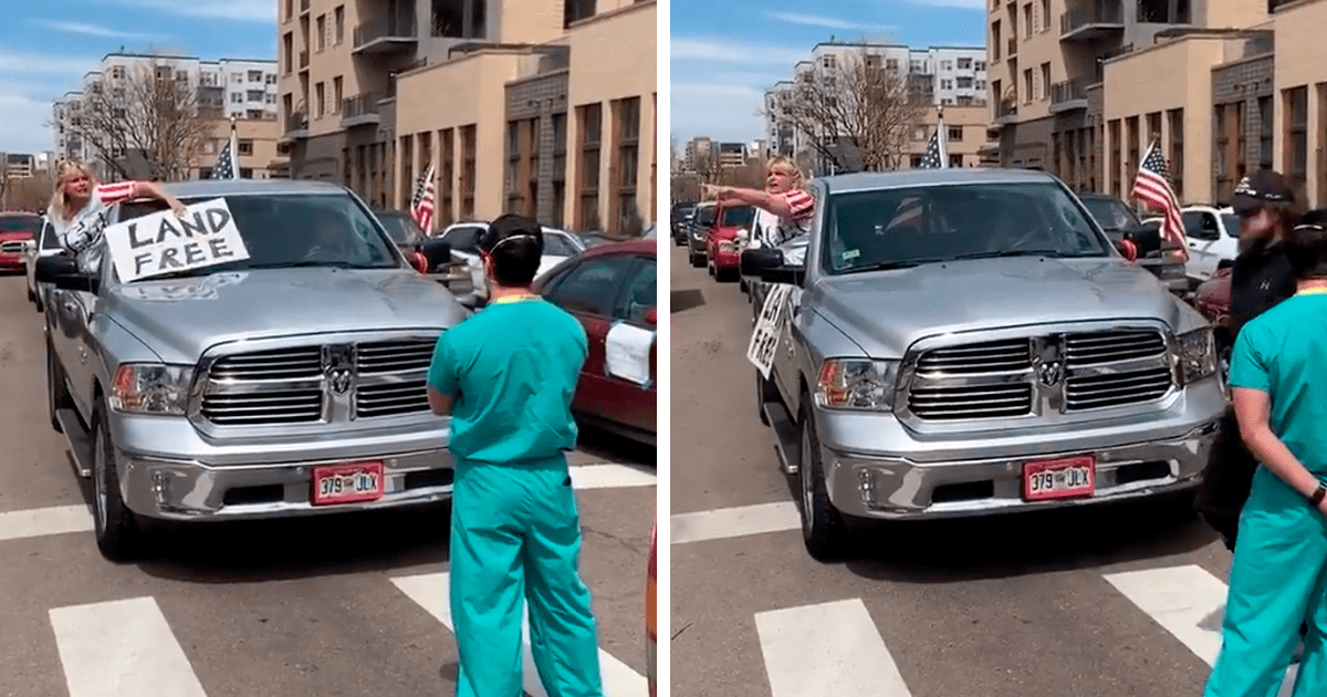 Medical Workers In Denver, Colorado Block Quarantine Protesters