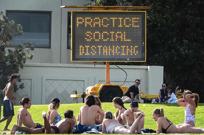 Social Gathering At St Kilda Beach Today