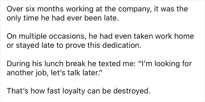 Woman Shares How Her Boss Lost A Loyal Worker By Not Caring Why He Was Late For The First Time Ever And Yelling At Him