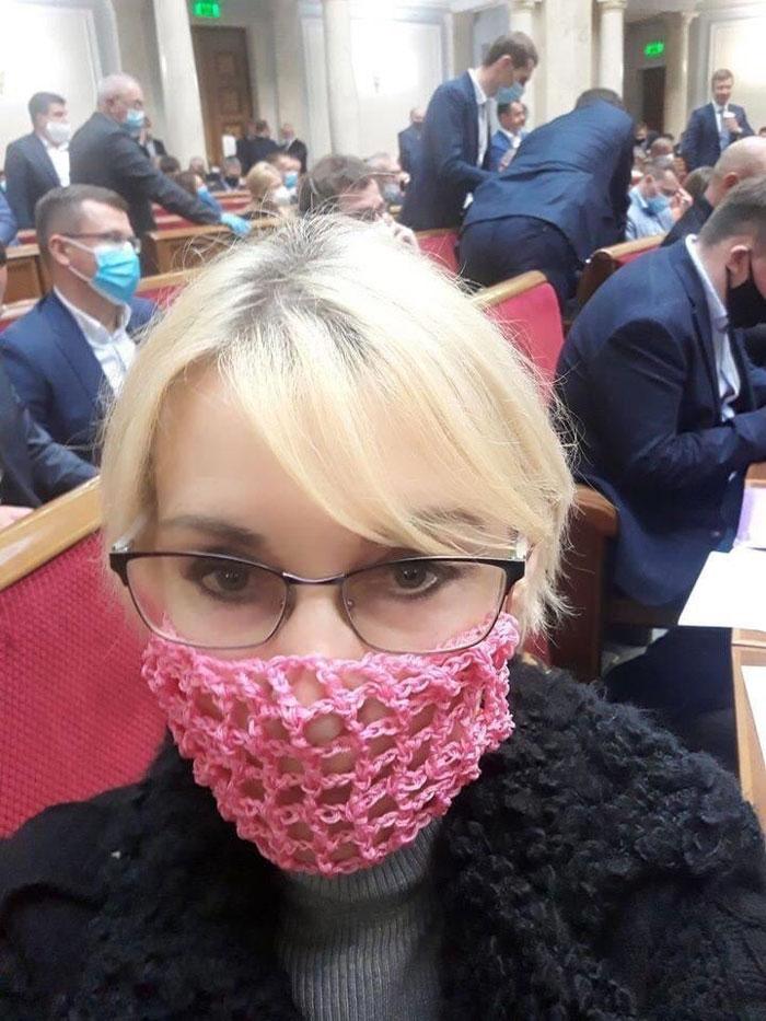 Member Of The Ukrainian Parliament Wearing Her Crotchet Mask