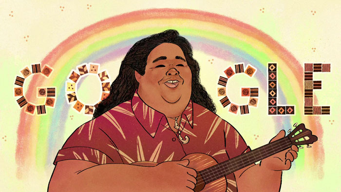 "google doodle israel kamakawiwo ole 61 birthday 1 5ec7ce0eecfe6  700 - Google Doodles faz homenagem ao cantor havaiano de ""Over The Rainbow"""