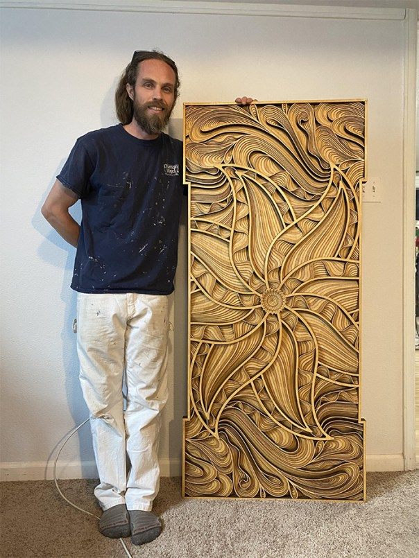My quarantine project. Digital design, laser cut into 10 layers of plywood, stained brown. No name