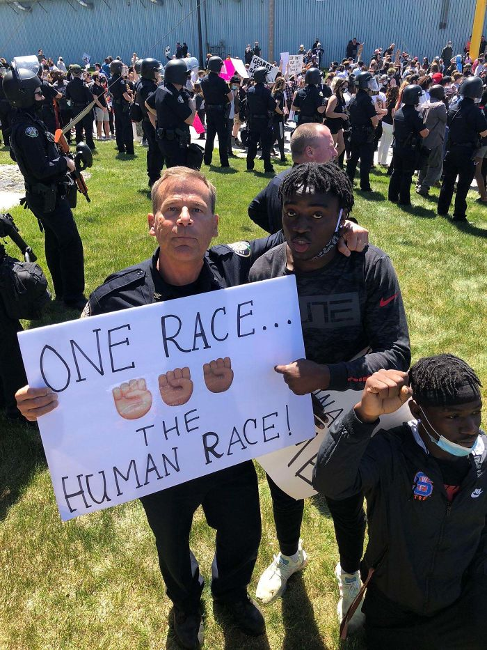 A Protester And A Police Officer Today In Fargo. This Is What Solidarity Looks Like
