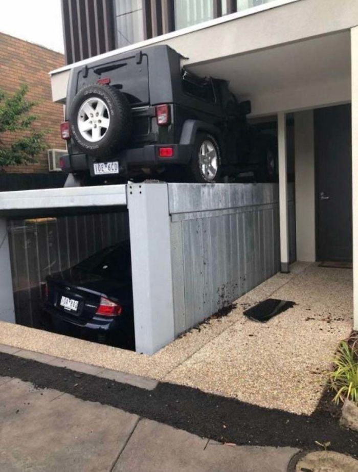 When You Forget You Parked On Top Of The Self-Hiding Garage