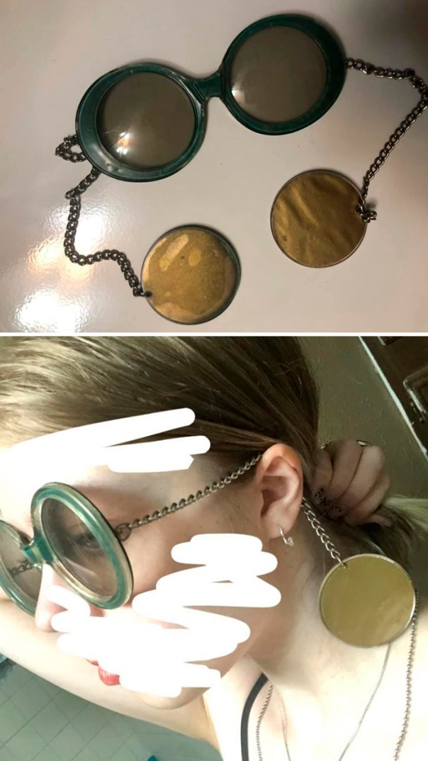 My Mom And I Found These Sunglasses At An Antique Shop Years Ago!! Chain Sunglasses. I Have Never Seen Anything Like These. They Are Huge On My Face But So Cute