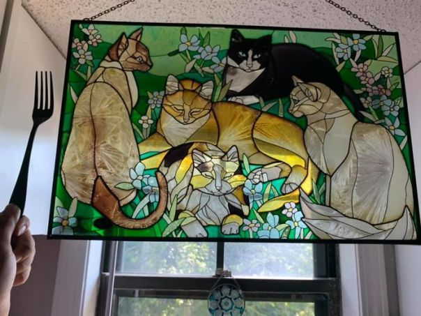 Found This Beauty For $20 At Those Were The Days In Warrensburg, Mo I Love How Delicate Stained Glass Looks And That There's All Color Kitties