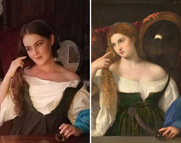 "Tiziano Vecelli ""Woman With A Mirror"" (~1515)"