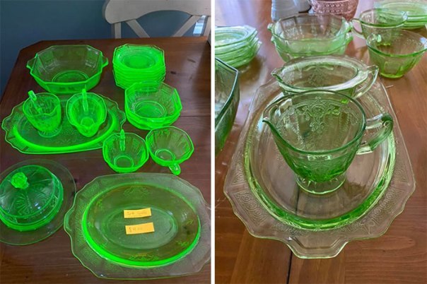 "I Saw A Post On Facebook Marketplace Titled ""Kitchen Stuff"" And I Saw Green Glass In The Background. I Messaged The Seller Asking How Much She Wanted For The Green Dishes And She Said $4 For The Whole Set"