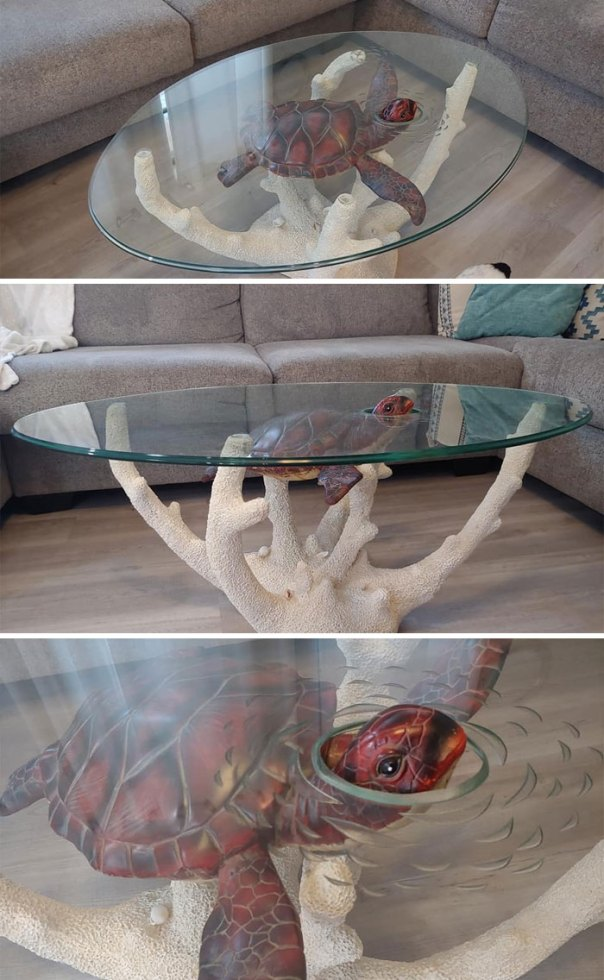 Got This Coffee Table At An Estate Sale Today! Ridiculously Excited About This. I Loooove Turtles!