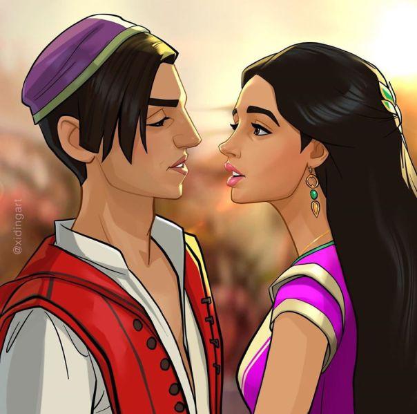 Mena Massoud (Aladim) And Naomi Scott (Princess Jasmine)