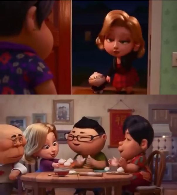 "In The Pixar Short Film ""Bao"" (2018), The White Woman Is First Seen Dressed A Bit Immodestly And With Heavy Makeup, But Later Is Seen Dressed Modestly And With Little Makeup. This Is Meant To Juxtapose Who The Mother Saw Her As Initially vs. Who She Actually Was"