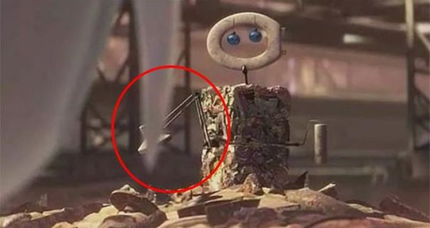 In Wall-E (2008) When He Makes A Replica Of Eve While She's Sleeping He Makes One If Her Arms Out Of A Luxo Lamp. Luxo Is The Brand Of Lamp In The Pixar Logo