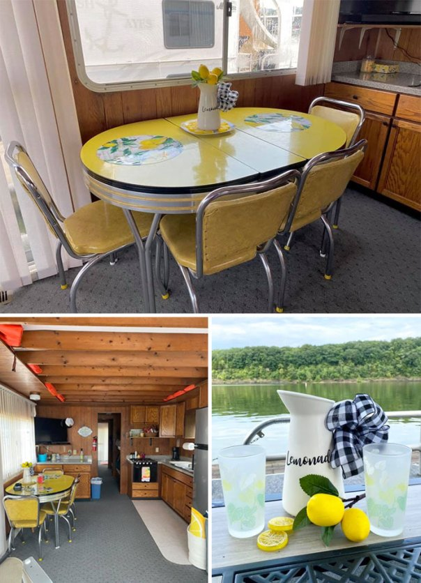 "We Purchased A Houseboat And Look What The Previous Owners Left! Perfect Condition Mustard Yellow Retro Dining Set! It Is Now Known As The ""Lemonade Table!"" It Makes My Day Extra Sunshiny!"