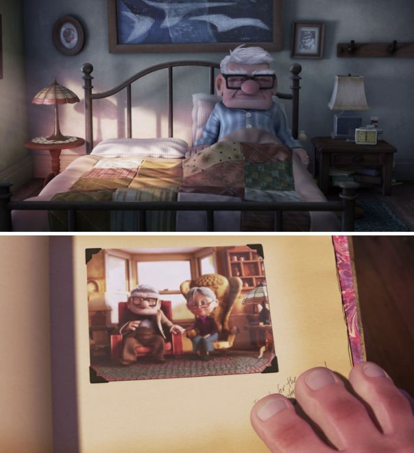 "In ""Up"" (2009), Ellie's Things Are Rounded While Carl's Things Are Square, Matching Their Respective Character Designs"
