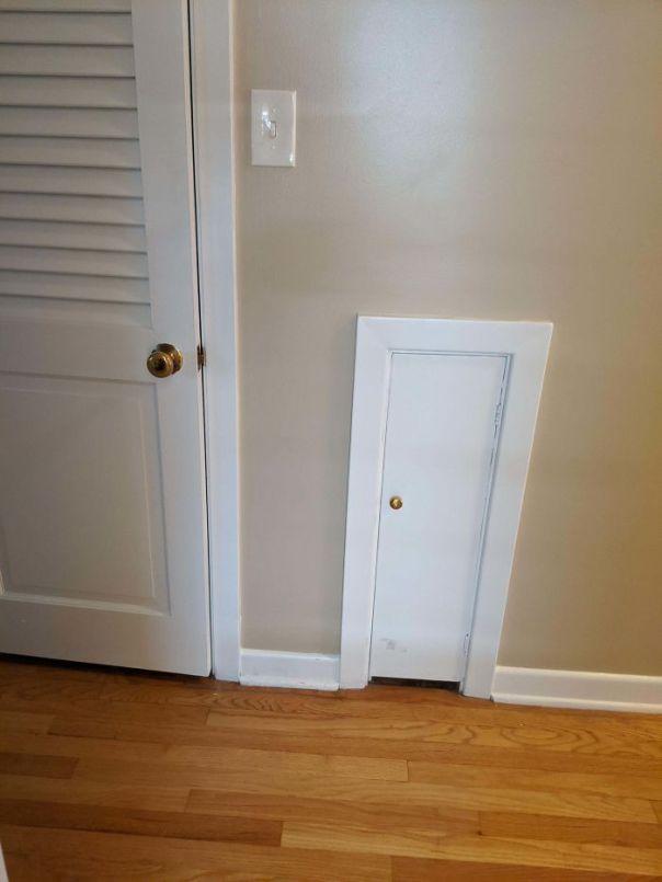 House Built Circa 1950. Left Door Is A Linen Closet. Right Door Is... What? So Deep That It Takes Up Space In A Closet Around The Corner. Door For House Elf? Witt?