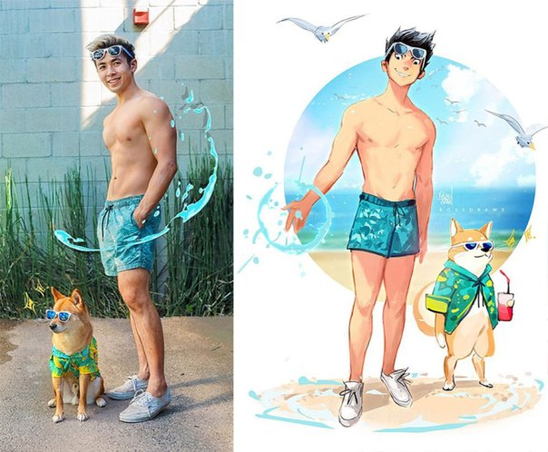 This Digital Artist Turns His Dog Into A Cartoon And The Result Couldn't Be Cuter