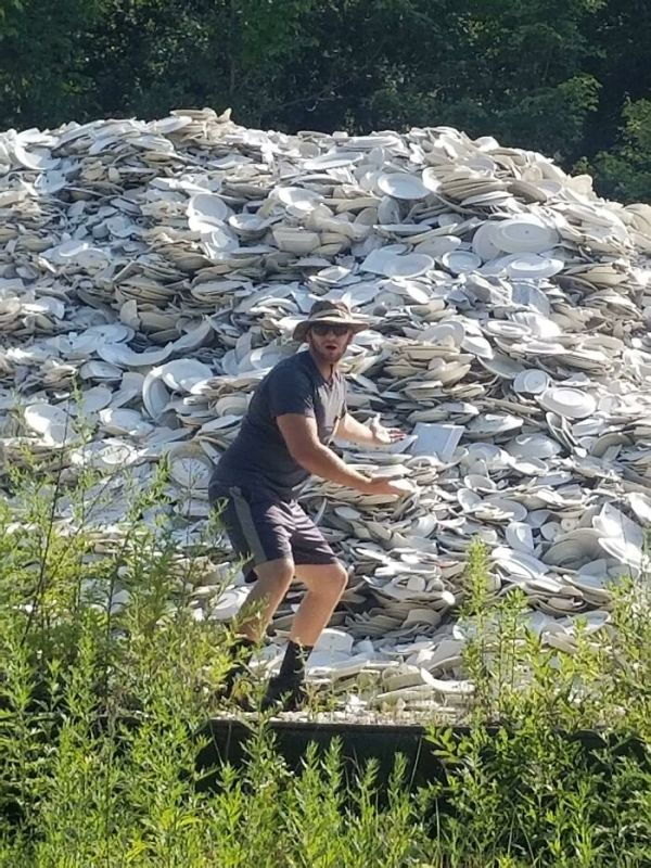 I Was Driving Through The Back Roads Of Pennsylvania On The Way To A Camping Spot And Found A Mountain Of Ceramic Dishes And Tea Cups In The Middle Of The Woods!?