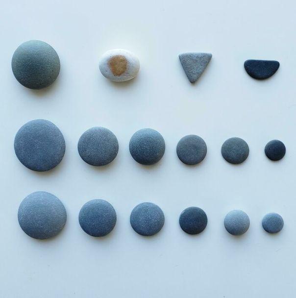Perfectly Round Rocks I Found On The Beach. Bonus: Egg, Dorito, And Watermelon Rock