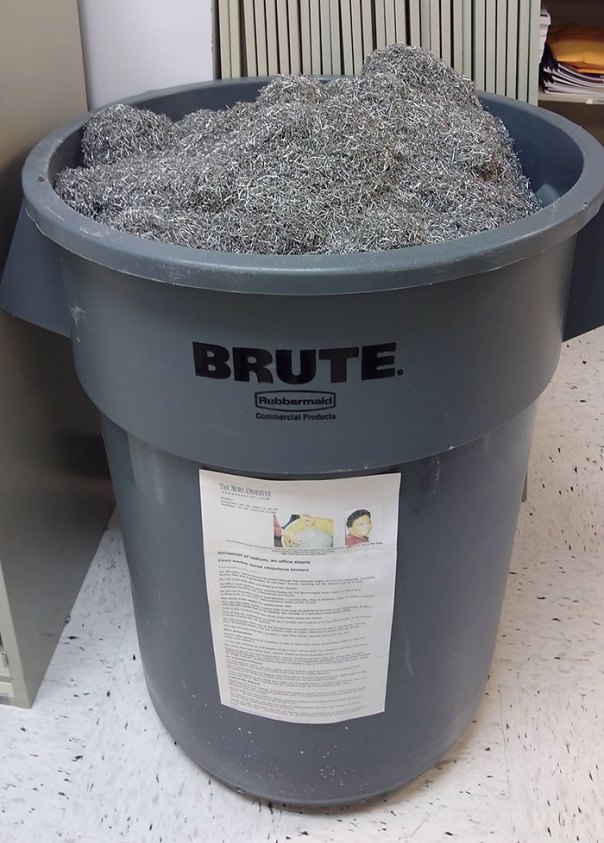 Since The Late 80s, My Office Has Been Collecting Used Staples That Were Removed From Documents That Needed To Be Microfilmed/Scanned. Here Is That Collection
