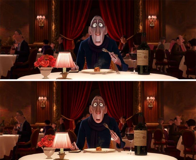 O rosto de Anton Ego fica menos pálido depois de comer o Ratatouille, simbolizando como suas emoções e sentimentos em relação à comida mudaram