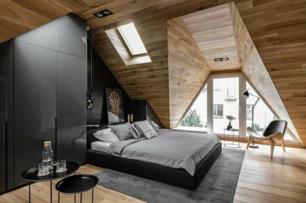 Attic Bedroom Makes The Most Of Its Design To Capture Light In This Apartment In Sopot, Poland