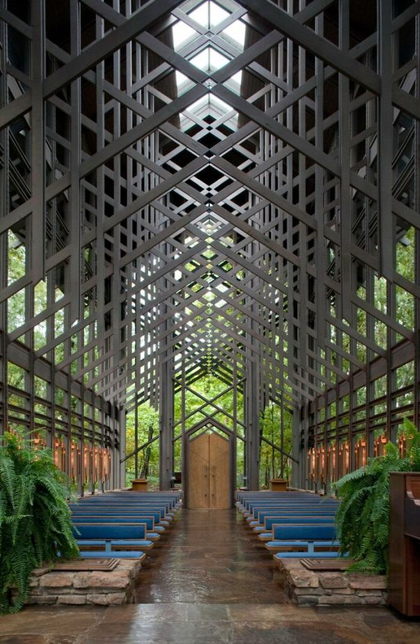Inside The Sanctuary Of Thorncrown Chapel Located In The Ozark Mountains. It Measures 48 Feet High, 60 Feet Long And A Mere 24 Feet Wide And Has A Central Skylight
