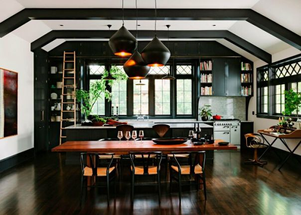 Black Kitchen In Renovated Library In Portland, Oregon
