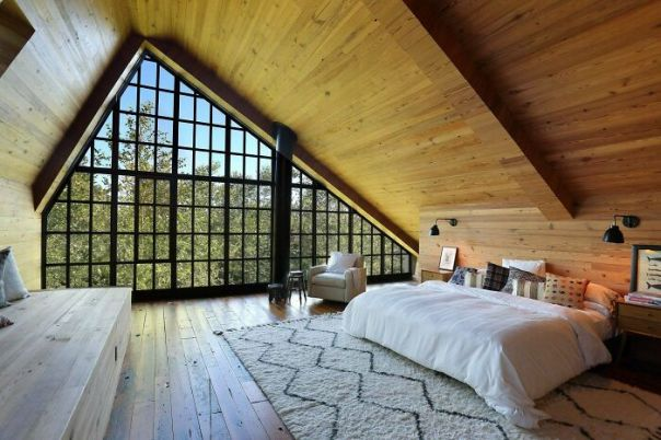 Spacious Attic Bedroom With A Giant Window Under A Vaulted Ceiling, Bridgehampton, South Fork, Suffolk County, Long Island, New York