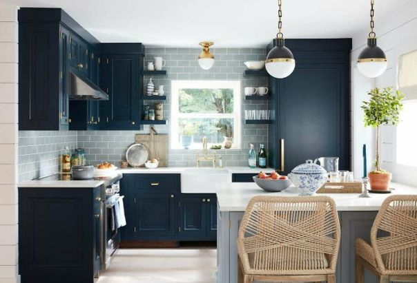 Cool Blues And Greys Adorn This Ocean-Inspired Kitchen In The Hamptons