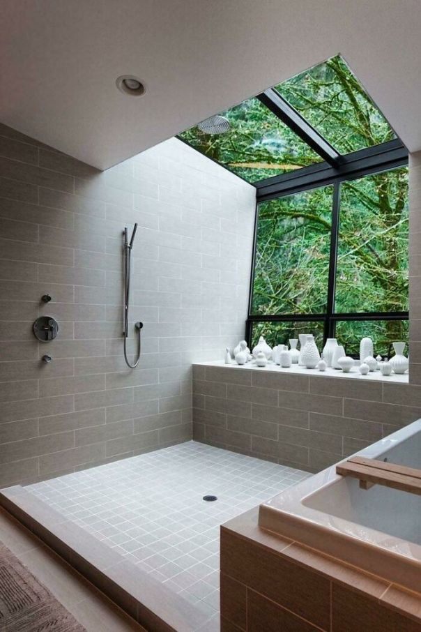 Contemporary Bath And Shower With An Amazing View Of The Outdoors In This Home Located In Portland, Oregon