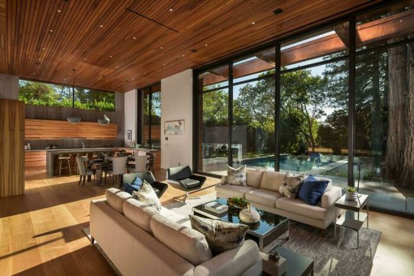 Open Living Space With Views Of The Redwoods In Ross, Ca