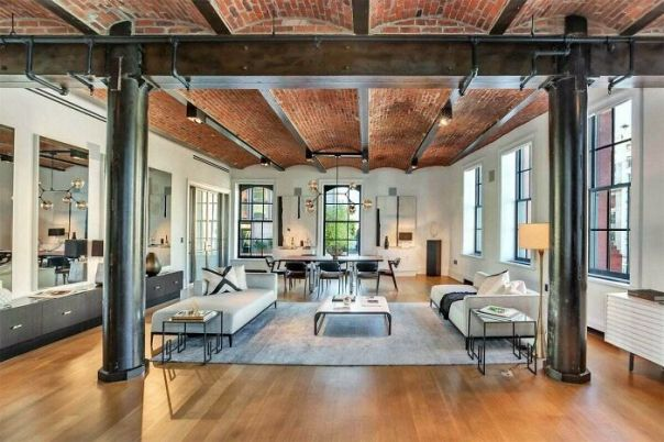 Cast Iron Columns And Brick Barrel Vaulted Ceilings In Soho, NY Loft