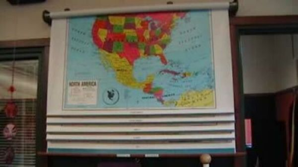School Maps Over The Whiteboard