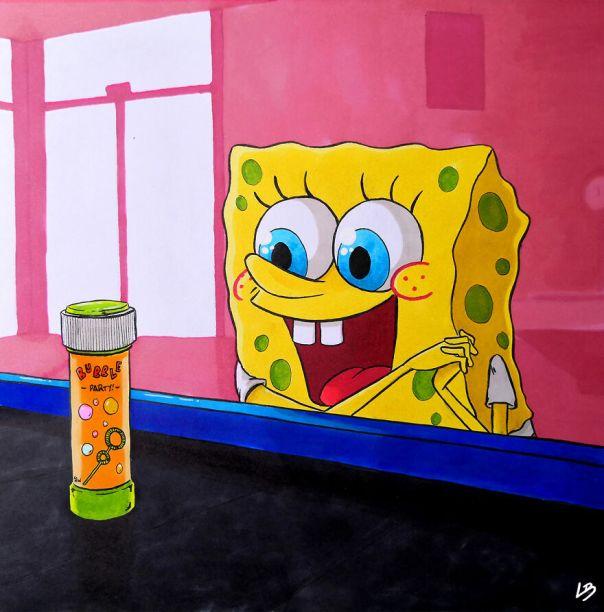 SpongeBob And A Bubble Soap Bottle