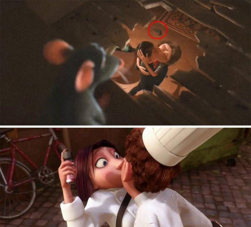 Quando Remy explora o prédio de apartamentos, ele vê uma mulher apontando uma arma para um homem. Um momento depois, eles acabam se beijando. Mais tarde, quando Colette está prestes a fazer Mace Linguini, Remy o faz ir para um beijo
