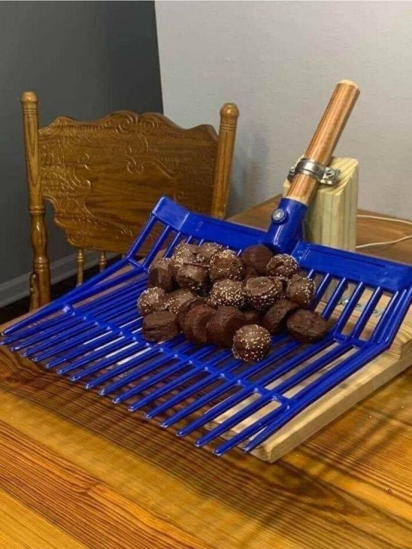 """Chocolate """"Horse Turd"""" Truffles On A Manure Fork. Just No"""